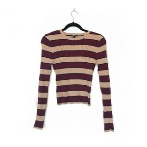 Striped Cropped Sweater Tan Burgundy Red